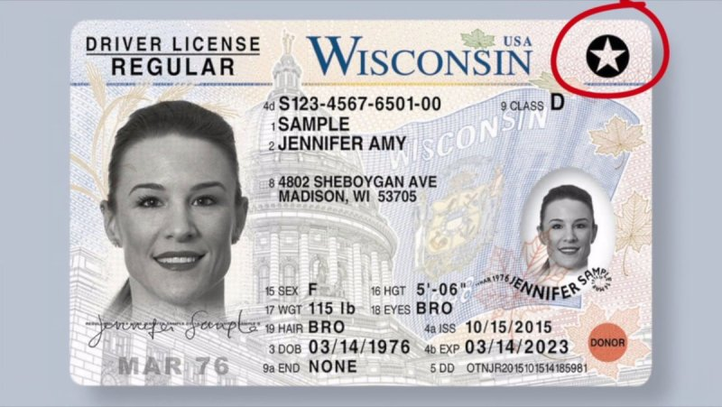 A WI REAL ID with a star in the upper right.