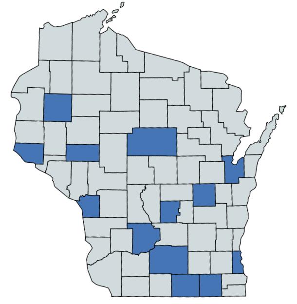 Dane County: 15 Rock County: 3 Sauk County: 3 Milwaukee County: 3 Brown County: 2 La Crosse County: 2 Marathon County: 2 Barron County: 1 Eau Claire County: 1 Marquette County: 1 Pierce County: 1 Walworth County: 1 Winnebago County: 1