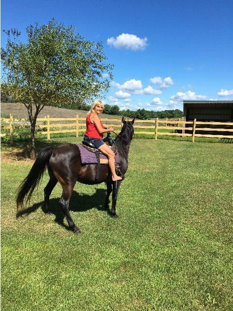 A woman on a horse outside.
