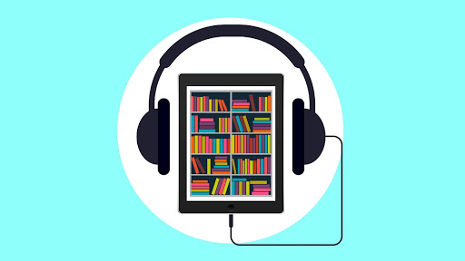 A blue background with a white circle in the center and an ipad with a graphic of a library, headphones plugged into it.