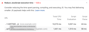 Measuring JS Execution Time via Pagespeed Insights