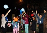 Releasing balloons and stories - Queen's Park Library sleepover, December 2015