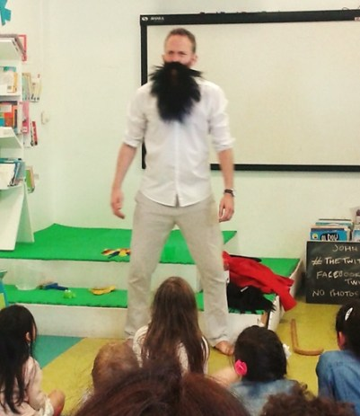 Actor John Kirk presenting his version of Roald Dahl's The Twits at St John's Wood Library – involving disgusting beards, the Roly-Poly Bird and…squirting water?!