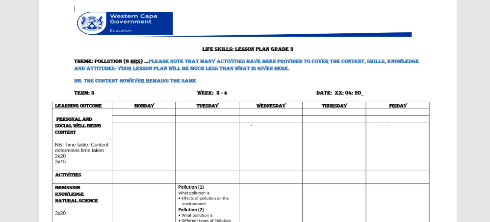 medium resolution of LIFE SKILLS: Grade 3 Term 3 Week 4 Lesson plan   WCED ePortal