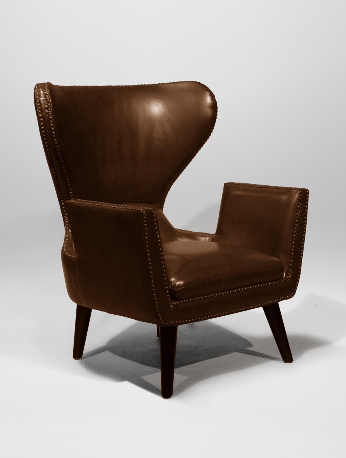 Brown Leather Wingback Chair Emmett Wingback Chair Brown