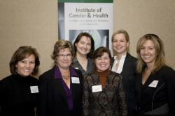 Dr. Lynn McIntyre (front row, third from left) with five other researchers awarded chair in New Perspectives in Gender, Sex and Health from CIHR.