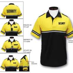Two Tone Bike Patrol Polo Shirt with Zipper Pocket and ID (Yellow w/ Black) ID Types: POLICE, SECURITY, SHERIFF, STAFF or RANGER