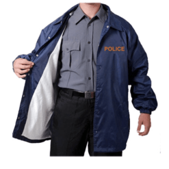 Navy Blue Windbreaker with Gold Police ID