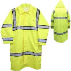 High Visibility Long Raincoat with Reflective Stripes