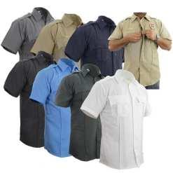 100% Polyester Short-Sleeve Zippered Uniform Shirt