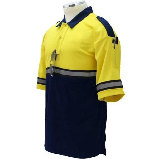 Two-Tone Bike Patrol Shirt with Zipper Pocket Yellow/Navy Blue