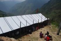 The temporary church building
