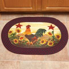 Braided Kitchen Rugs Countertop Ideas Cheap Rooster In Sunflowers Rug By Oakridge Indoor