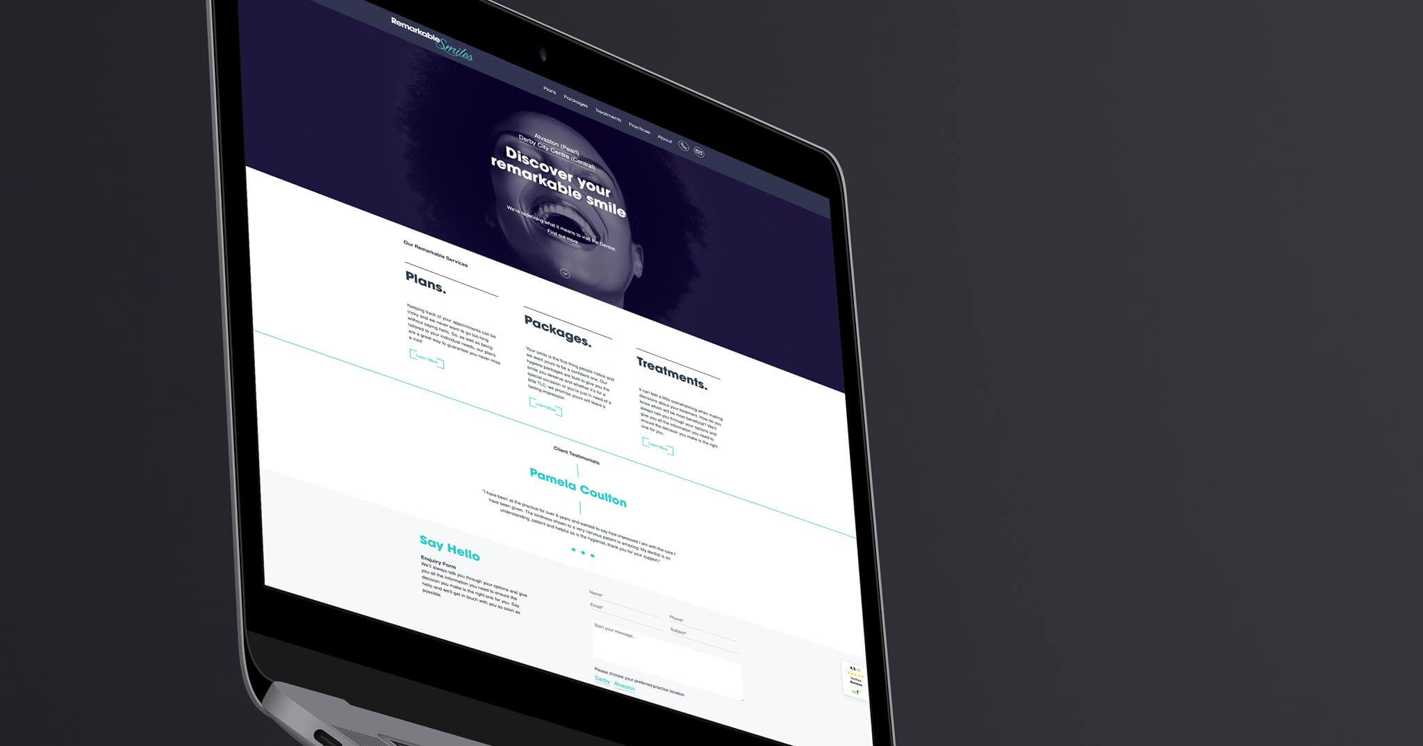 Remarkable Smiles Website Mock up