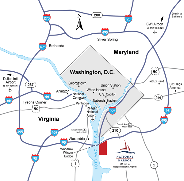 Map of the DC Beltway showing where National Harbor is