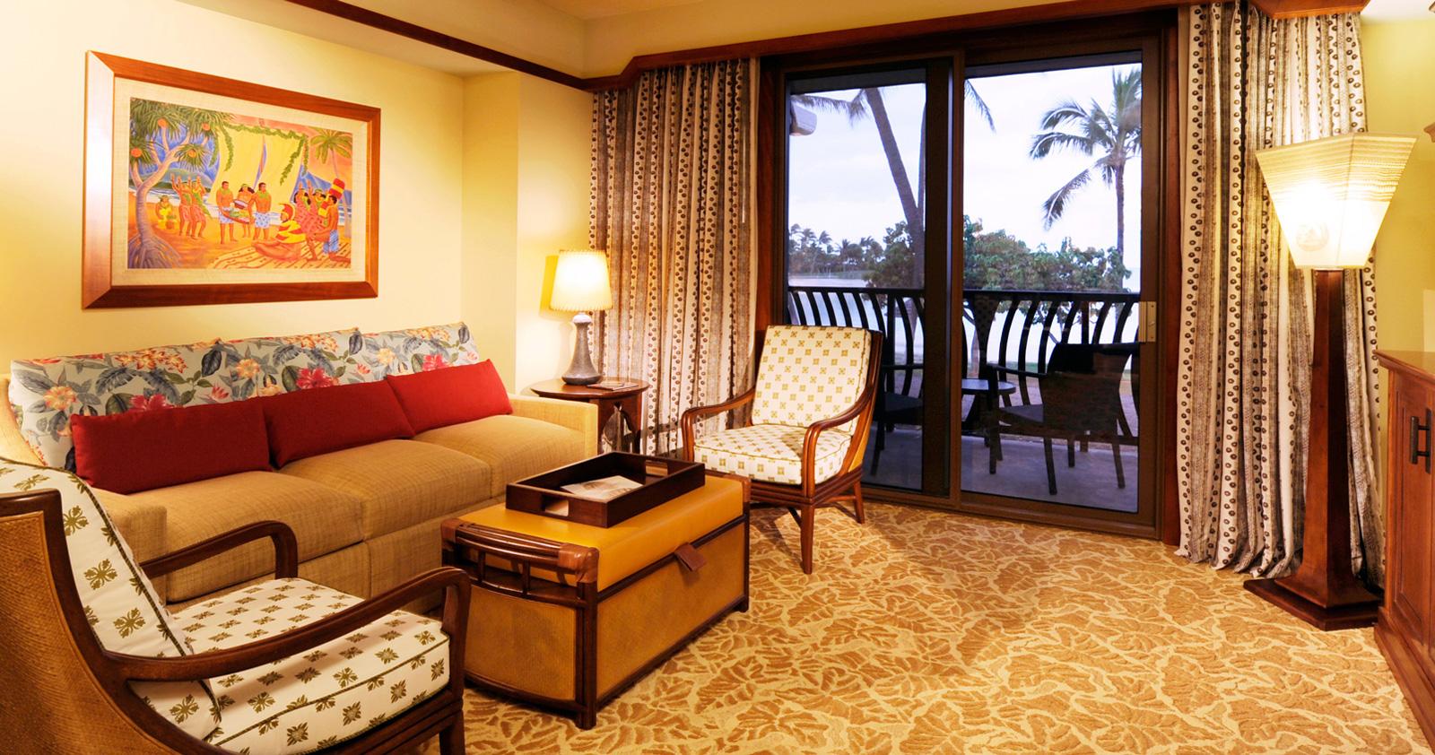 rooms to go sleeper sofa queen green leather one bedroom villa | aulani hawaii resort & spa