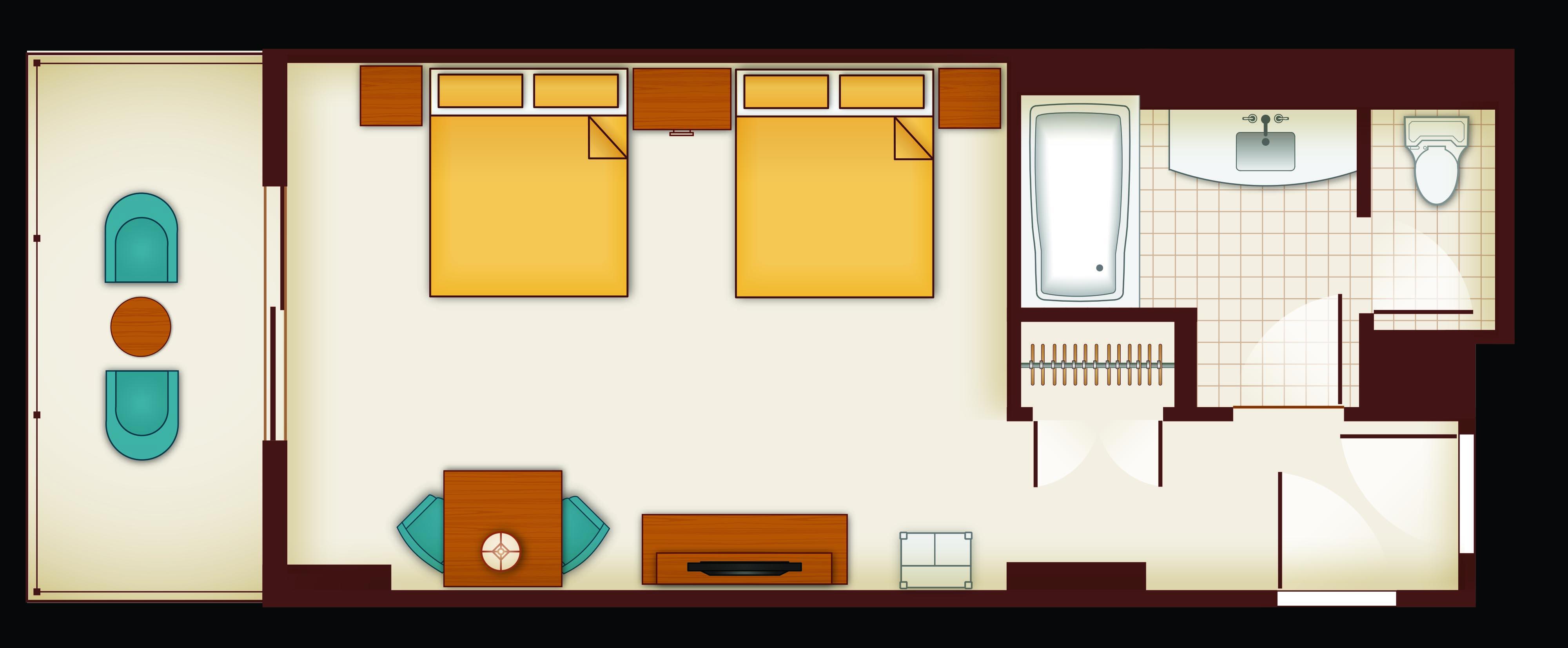 Aulani 2 Bedroom Villa Layout