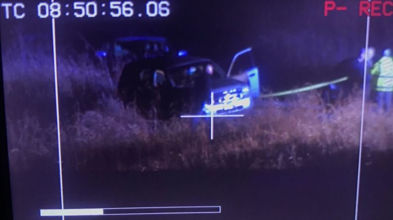 Investigators have focused on this SUV parked to the side of the bridge.