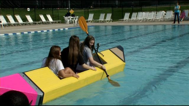 Students Float Creative Boats At Cardboard Boat Regatta