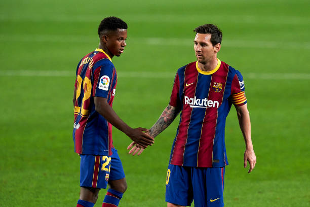 Ansu Fati and Lionel Messi