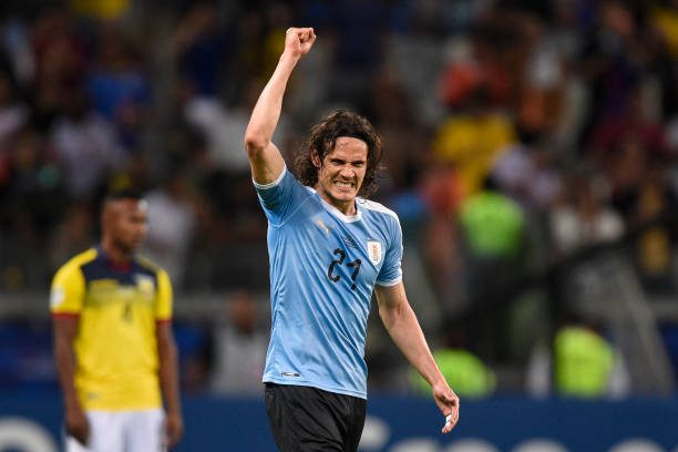 BELO HORIZONTE, BRAZIL - JUNE 16: Edinson Cavani of Uruguay celebrates after scoring the second goal of his team during a match between Uruguay and Ecuador at Mineirao Stadium on June 16, 2019 in Belo Horizonte, Brazil. (Photo by Pedro Vilela/Getty Images)