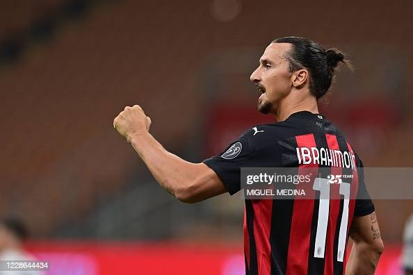 DTOPSHOT - AC Milan's Swedish forward Zlatan Ibrahimovic celebrates after scoring his team's second goal on a penalty kick during the Italian Serie A football match AC Milan vs Bologne at the San Siro stadium in Milan on September 21, 2020. (Photo by MIGUEL MEDINA / AFP) (Photo by MIGUEL MEDINA/AFP via Getty Images)