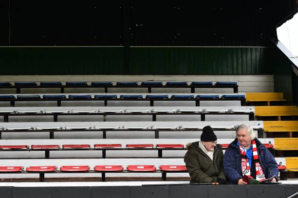 Fans sat in stands