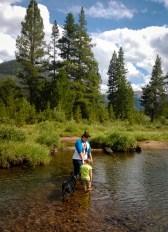 Helping Gwen cross the creek.