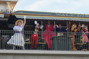 Mickey and friends arrive just in time to open the Magic Kingdom! Photo: Jane Collins