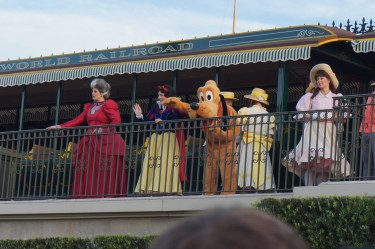 Mickey's friends wave from the platform. Photo: Jane Collins