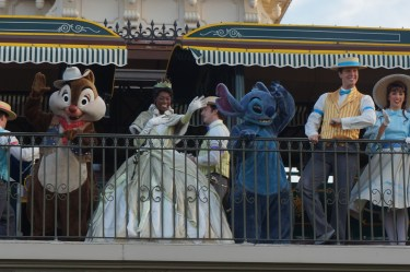 Even Tiana and Stitch show up to welcome visitors to the Magic Kingdom. Photo: Jane Collins