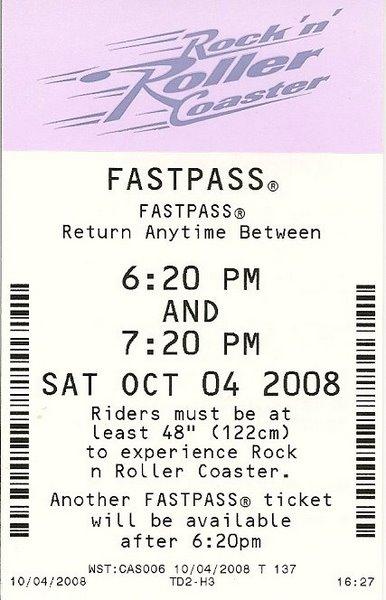 Disney Paper Fastpass