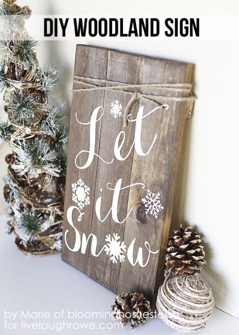 My favorite DIY Christmas Decor. DIY Christmas Decor Ideas. Place this rustic sign next to your Christmas tree or by the fire to stay cozy amidst a hopeful flurry. Get the tutorial at Live Laugh Rowe.