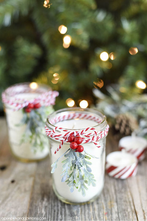 Make good use of excess Mason jars by turning them into Christmas candles with a refreshing peppermint scent. Get the tutorial at A Pumpkin & A Princess.