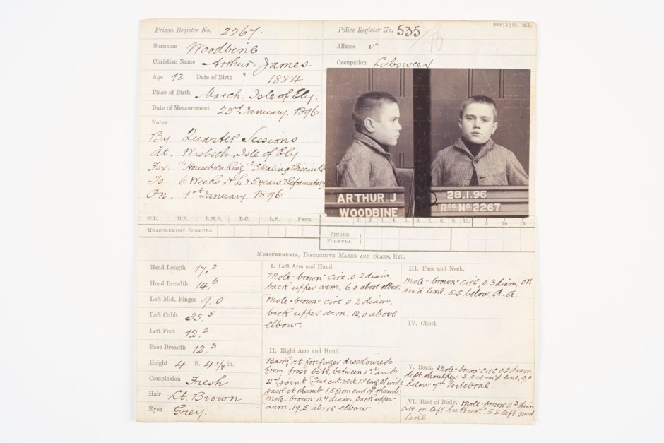 2a1. Handwritten criminal record card for Arthur James Woodbine, aged 12, 1896 ∏ Museum of London