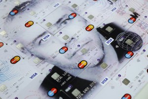 Self portraits for bank cards investigate money circulation, art ownership and identity