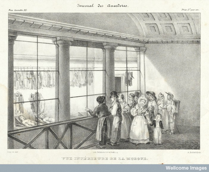 L0042495 People visiting the morgue in Paris to view the cadavers. Credit: Wellcome Library, London. Wellcome Images images@wellcome.ac.uk http://wellcomeimages.org People visiting the morgue in Paris to view the cadavers. A crowd gathers to view the grisly sight of the bodies, including a mother and her young son. 1829? By: Courtrin.after: A. BobletPublished: 1820s Copyrighted work available under Creative Commons Attribution only licence CC BY 4.0 http://creativecommons.org/licenses/by/4.0/