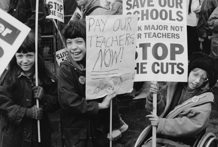 Demonstration against cuts in education, Piccadilly, London, 1995_The Time of Her Life_Lesley McIntyre003 600px