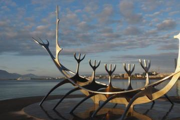 The Sun Voyager sculpture in Reykjavik, Iceland
