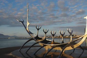 The Sun Voyager sculpture in Reykjavik, Iceland