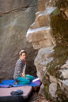 Tarja having a bad moment with this small boulder problem.