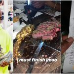 Davido Spends N980,000 eating 24-karat gold coated meat  (Photos)