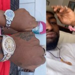 Davido and his daughter, Imade, rock matching expensive wristwatches (Photos)