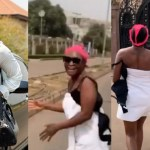 Blessing Okoro goes into the street in just her towel & Panties on her head to celebrate 500K followers on IG (Video)