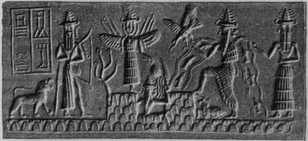 The winged Ishtar above the rising sun god, the river god, and other deities