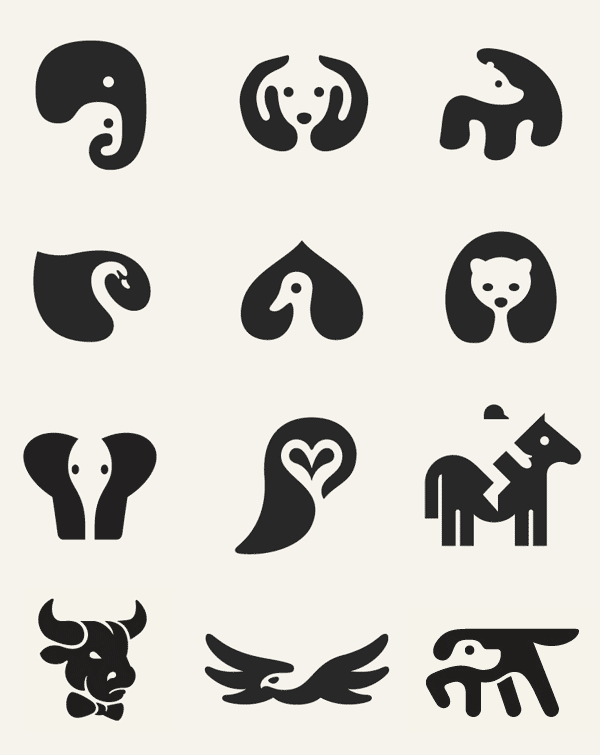 Negative Space Animal Icons by George Bokhua