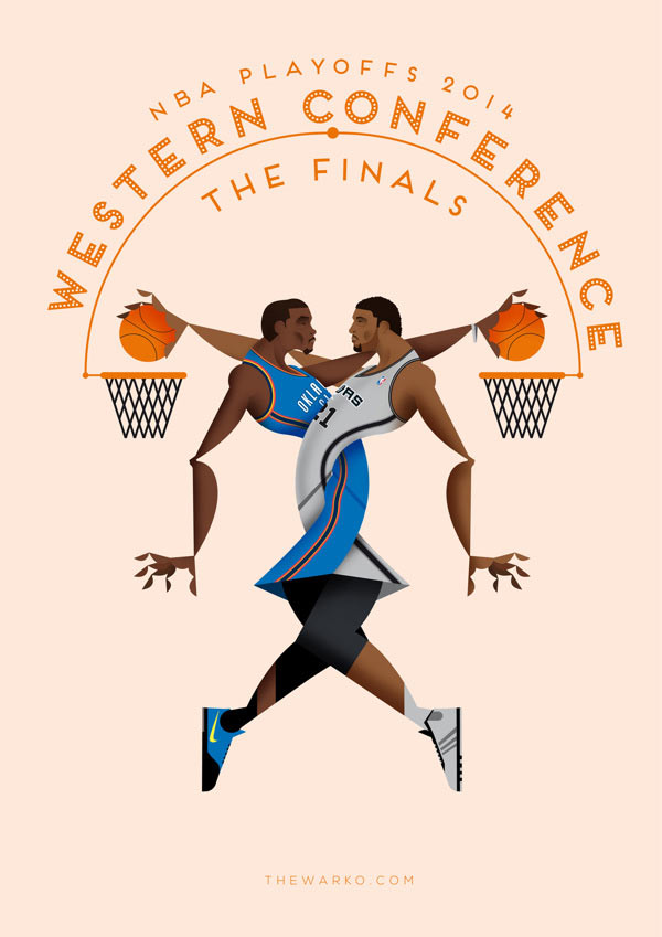 NBA Playoffs 2014 Poster Illustrations By Davide Barco
