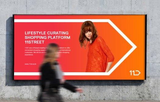 Billboard ad in the pedestrian zone.