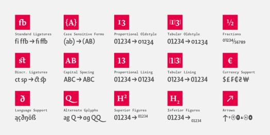 Novel Display - Typographic features.