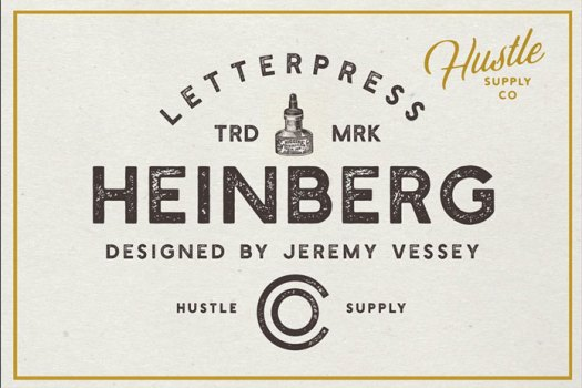 Heinberg letterpress typeface.